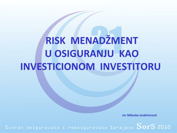 RISK  MENADŽMENT