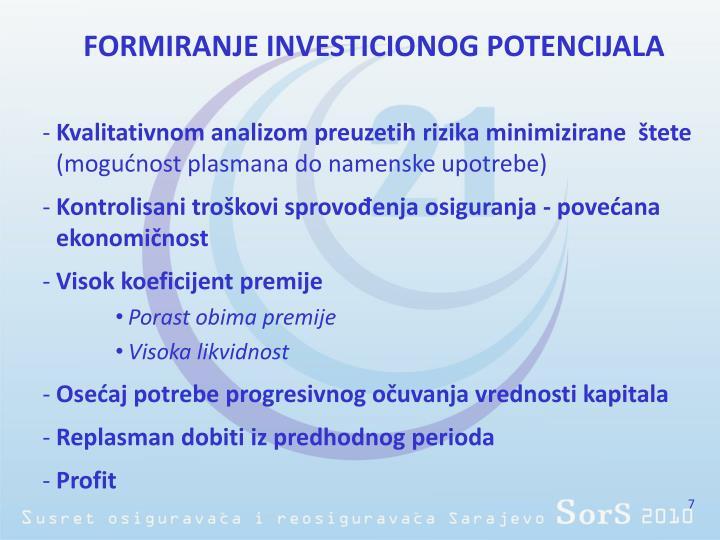 FORMIRANJE INVESTICIONOG POTENCIJALA