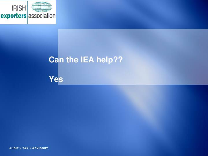 Can the IEA help??