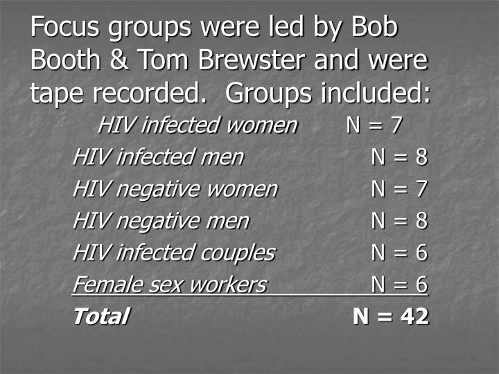 Focus groups were led by Bob Booth & Tom Brewster and were tape recorded.  Groups included: