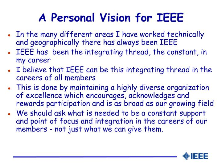 A Personal Vision for IEEE