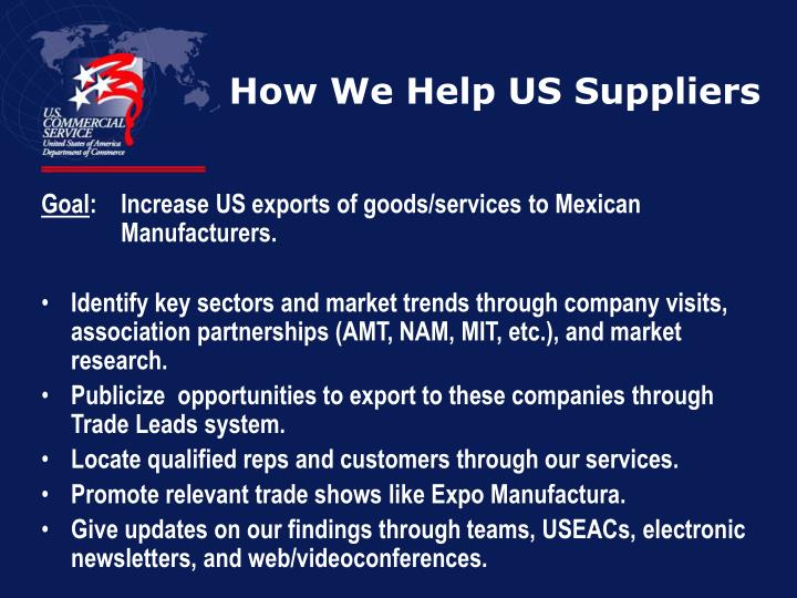 How We Help US Suppliers