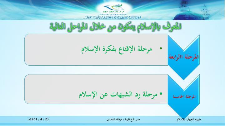 المعرف بالإسلام يتكون من خلال المراحل التالية