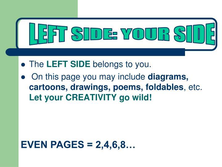 LEFT SIDE: YOUR SIDE