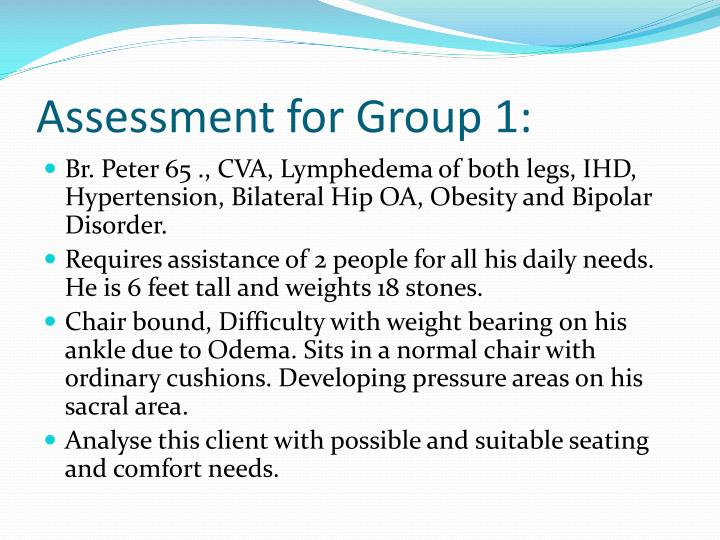Assessment for Group 1: