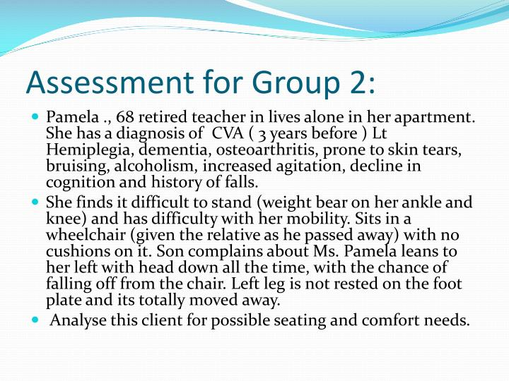 Assessment for Group 2: