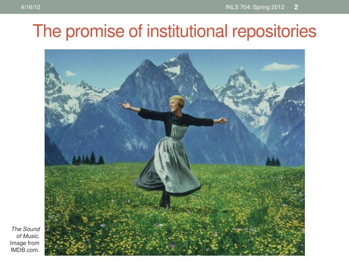 The promise of institutional repositories