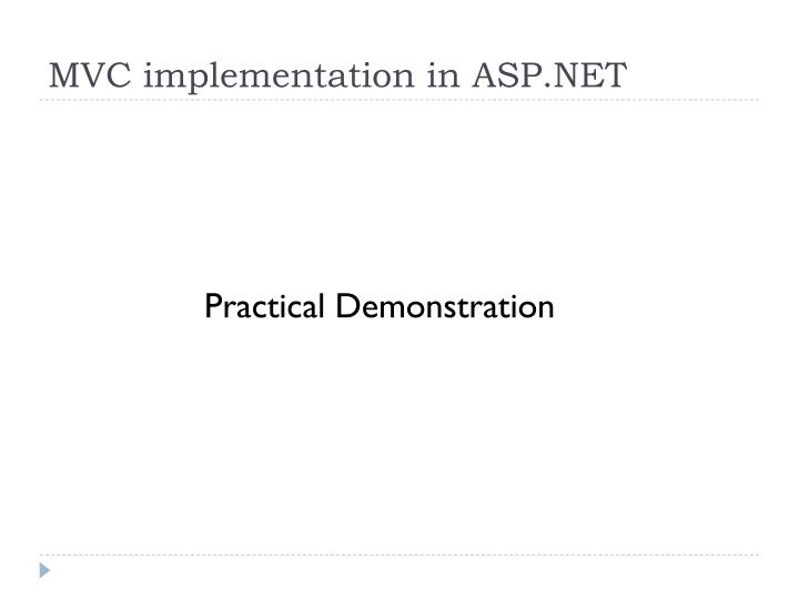 MVC implementation in ASP.NET
