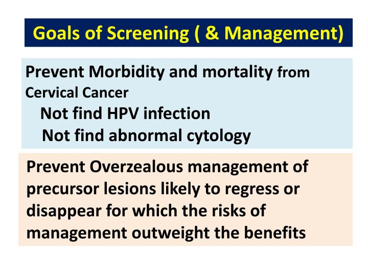 Goals of Screening ( & Management)