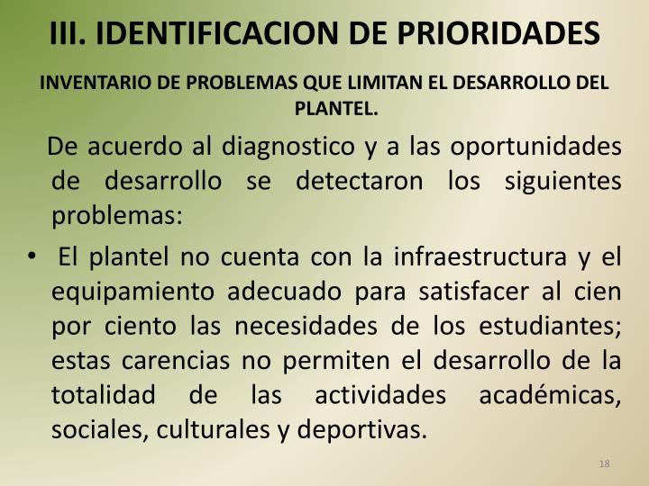 III. IDENTIFICACION DE PRIORIDADES