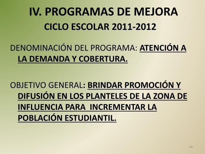 IV. PROGRAMAS DE MEJORA