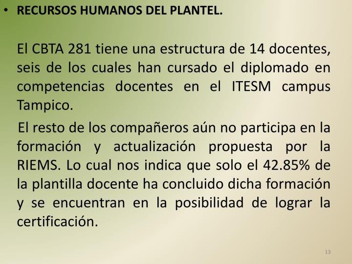 RECURSOS HUMANOS DEL PLANTEL.