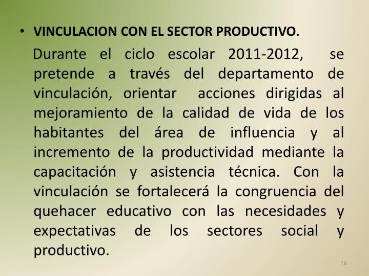 VINCULACION CON EL SECTOR PRODUCTIVO.