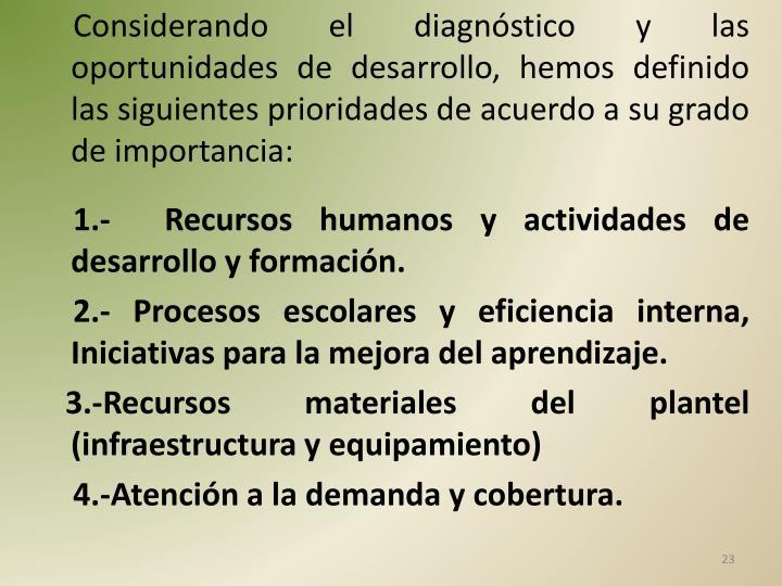 Considerando el diagnóstico y las oportunidades de desarrollo, hemos definido las siguientes prioridades de acuerdo a su grado de importancia: