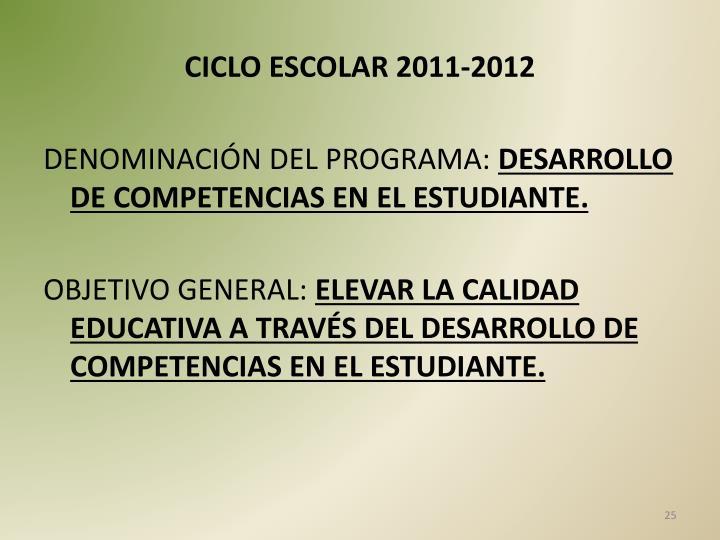 CICLO ESCOLAR 2011-2012
