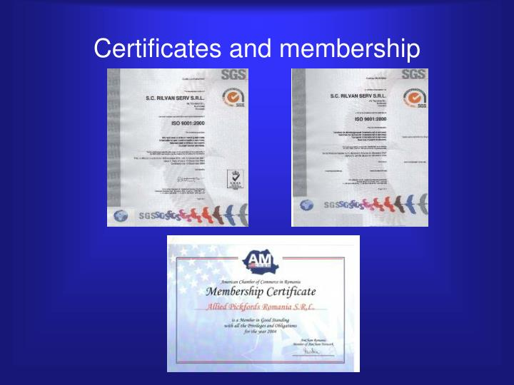Certificates and membership