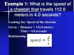 example 1 what is the speed of a cheetah that travels 112 0 meters in 4 0 seconds