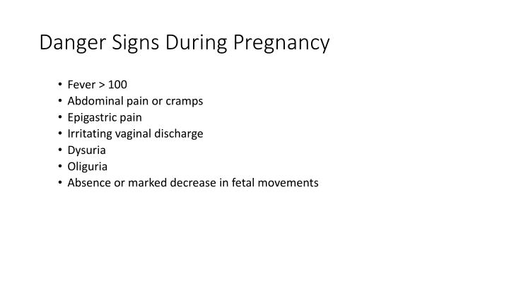 Danger Signs During Pregnancy