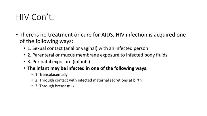 HIV Con't.