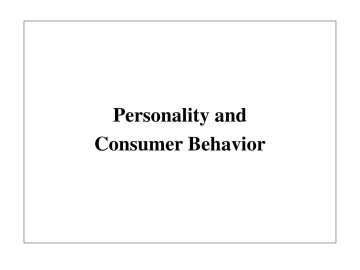 Personality and