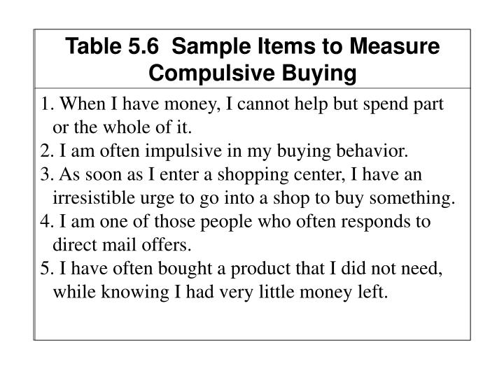 Table 5.6  Sample Items to Measure Compulsive Buying