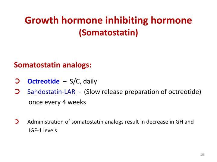 Growth hormone inhibiting hormone