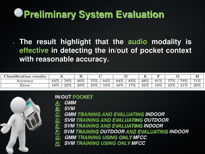 Preliminary System Evaluation