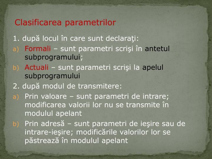 Clasificarea parametrilor