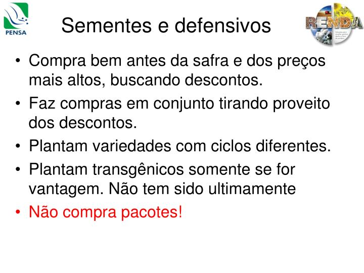 Sementes e defensivos