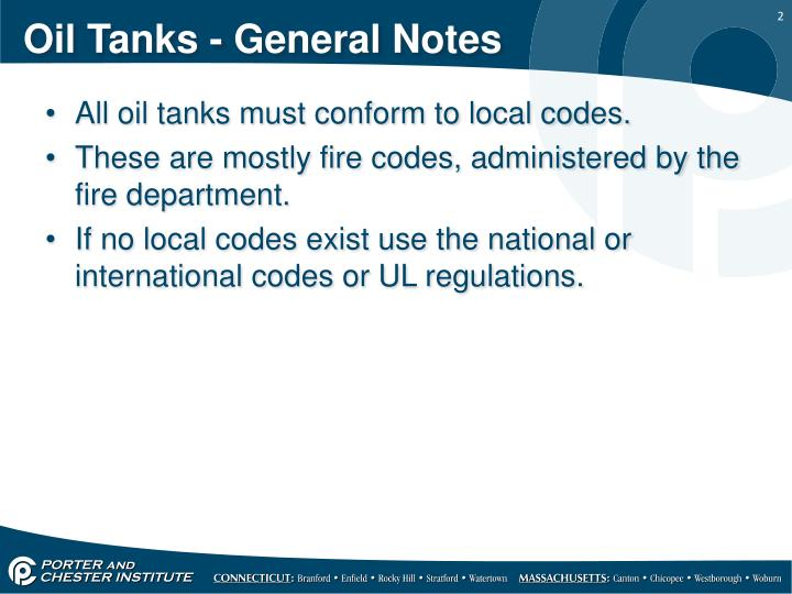 Oil tanks general notes