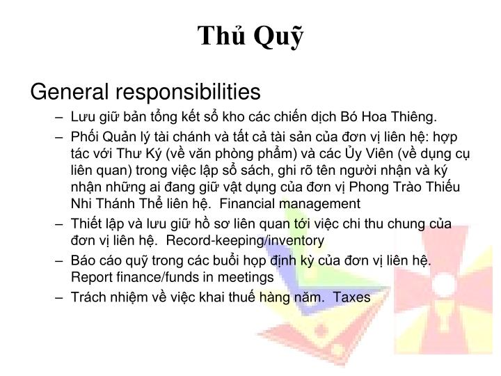 General responsibilities