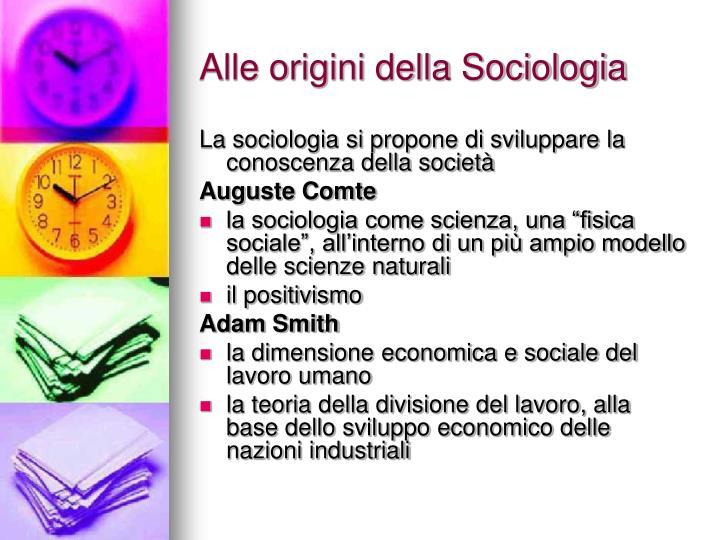 Alle origini della Sociologia