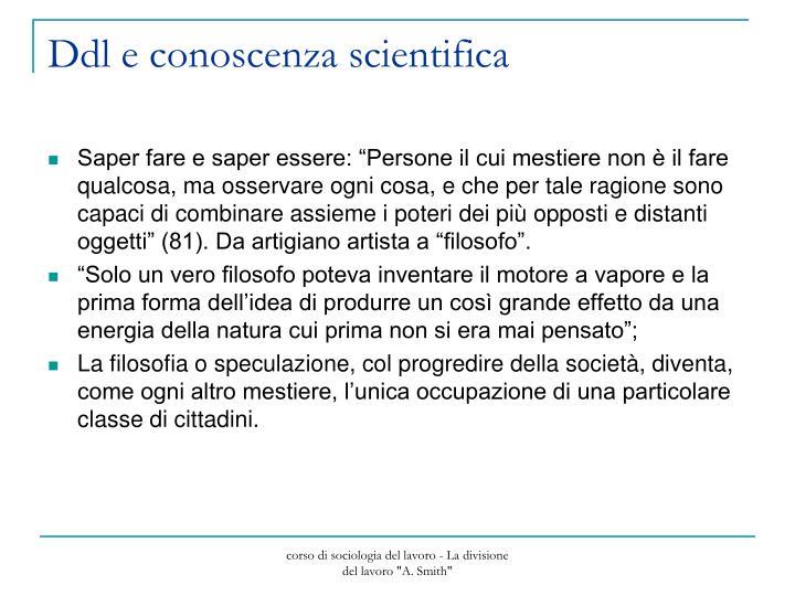 Ddl e conoscenza scientifica