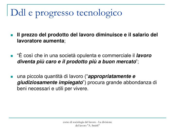 Ddl e progresso tecnologico
