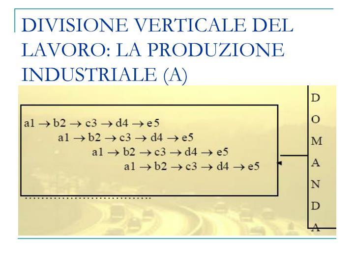 DIVISIONE VERTICALE DEL LAVORO: LA PRODUZIONE INDUSTRIALE (A)