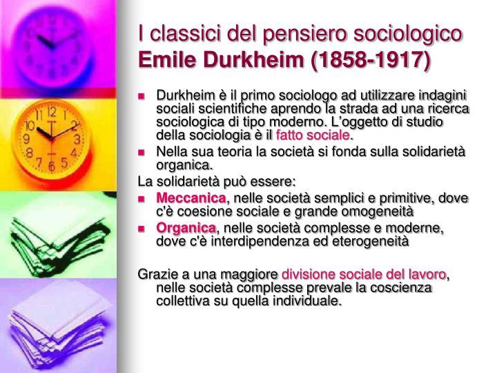 I classici del pensiero sociologico