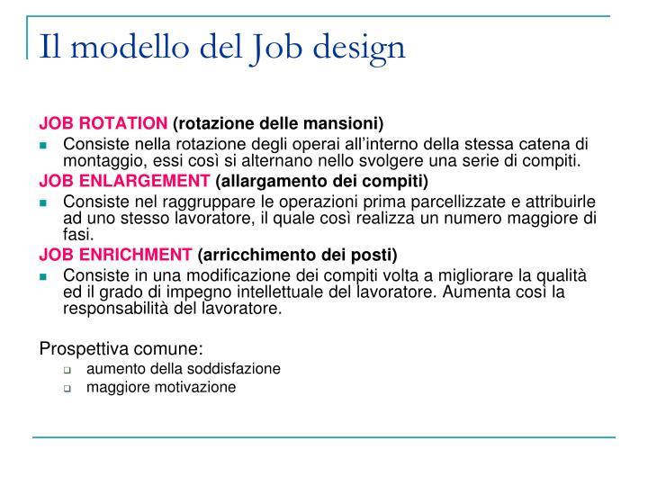 Il modello del Job design