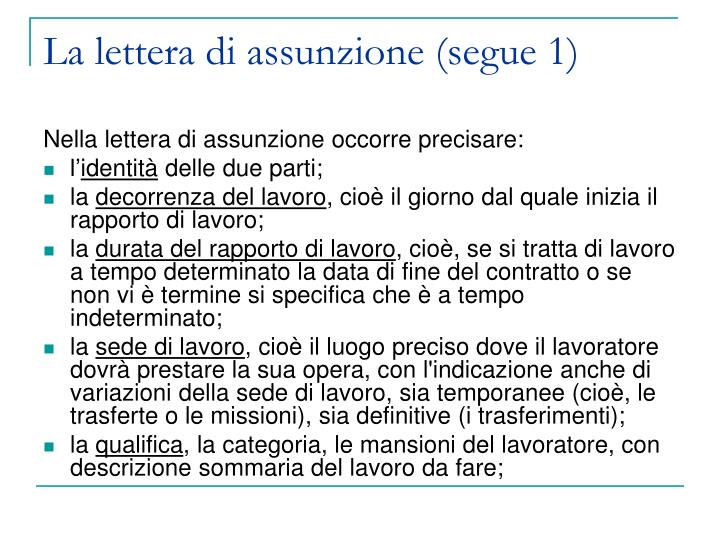 La lettera di assunzione (segue 1)