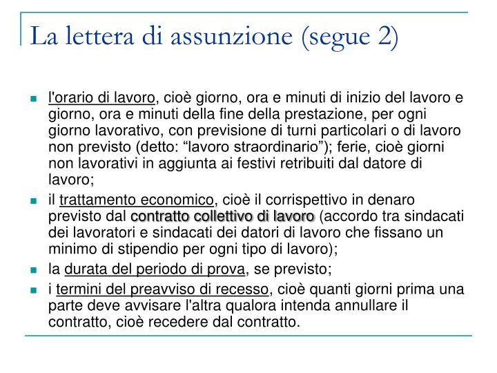 La lettera di assunzione (segue 2)