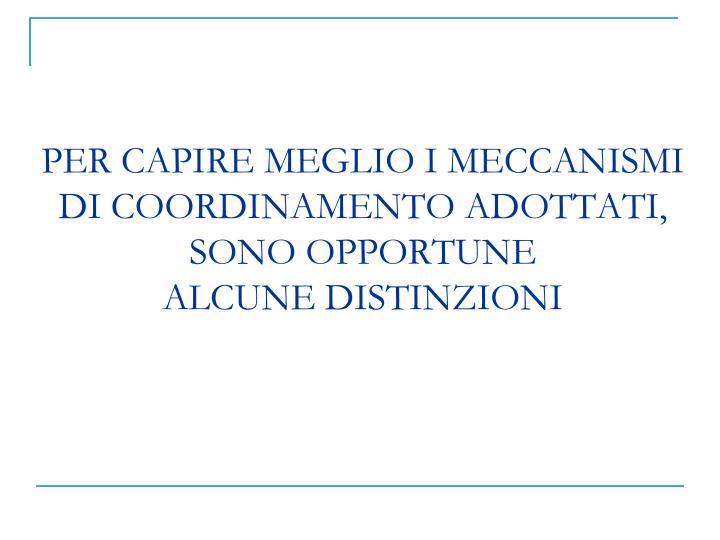 PER CAPIRE MEGLIO I MECCANISMI DI COORDINAMENTO ADOTTATI, SONO OPPORTUNE