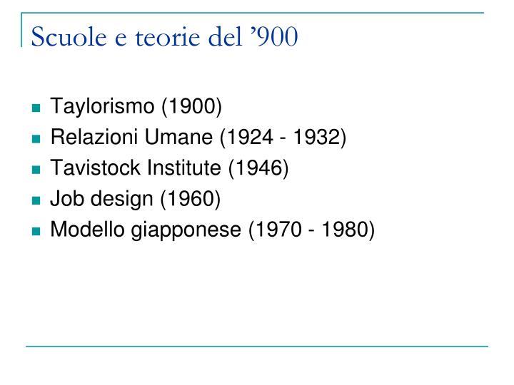 Scuole e teorie del '900