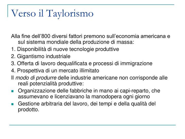 Verso il Taylorismo