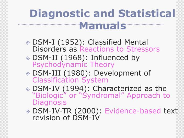 Diagnostic and Statistical Manuals