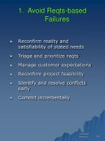 1 avoid reqts based failures