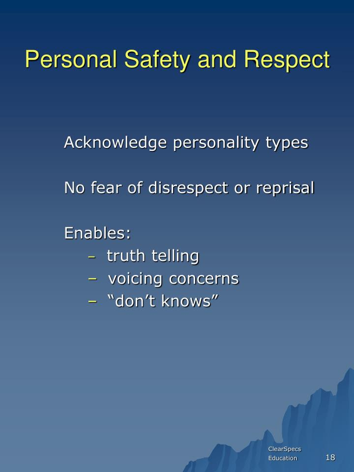 Personal Safety and Respect
