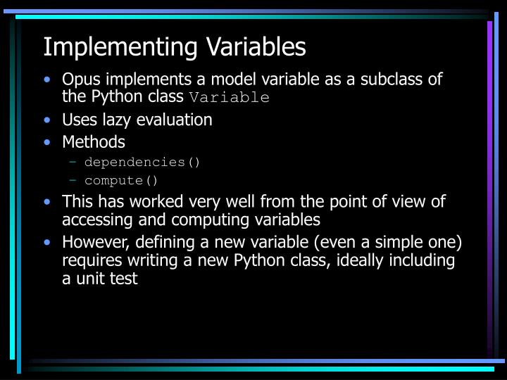 Implementing Variables
