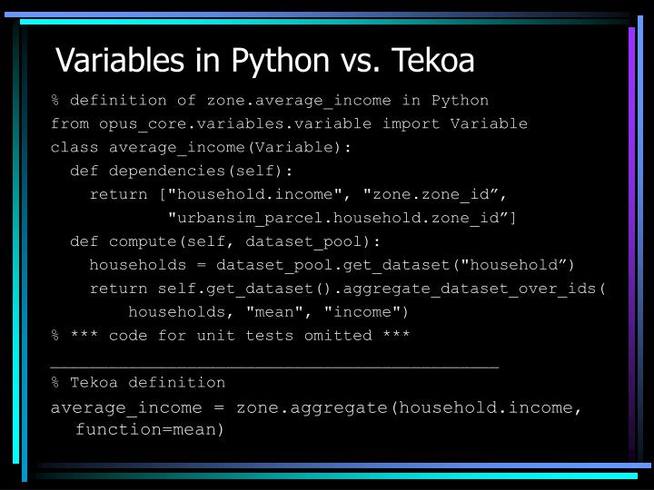 Variables in Python vs. Tekoa