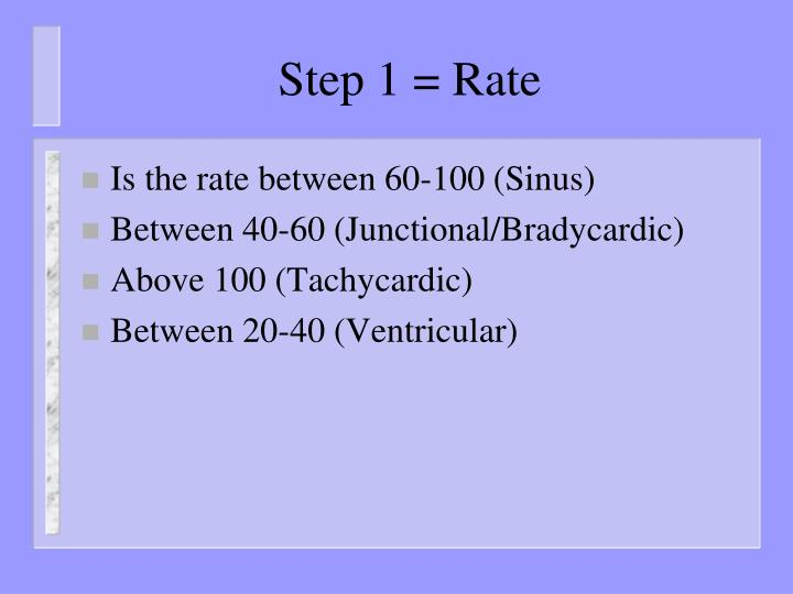 Step 1 = Rate