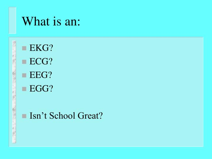 What is an: