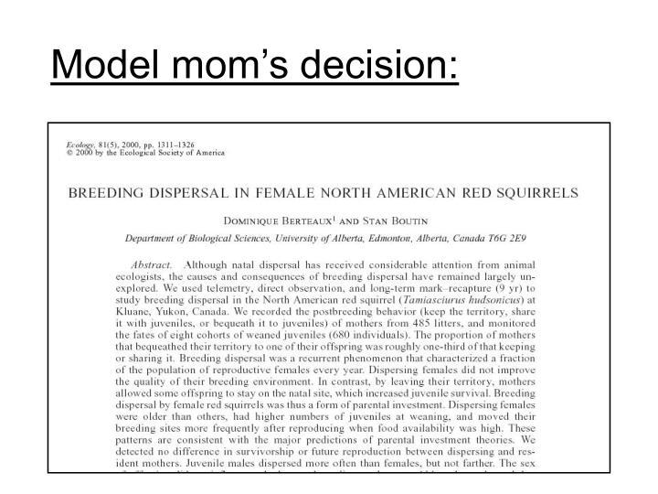 Model mom's decision: